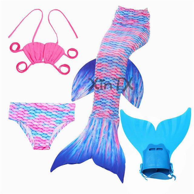 447356eba3f42 Children Mermaid Tail with Monofin Kids Girls Costumes Swimming Mermaid  Tail Mermaid Swimsuit ...
