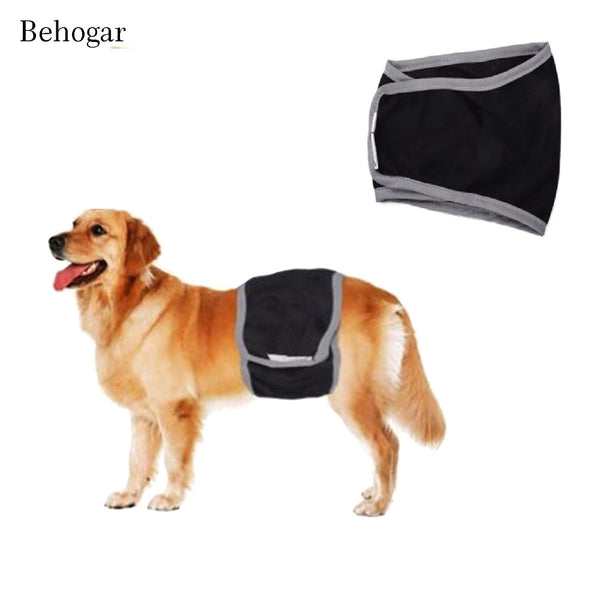 Behogar Breathable Male Pet Dog Wrap Sanitary Diaper Belly Bands Underwear with Hook & Loop Tape Size XS S M L XL Waist 30-80cm - LADSPAD.COM