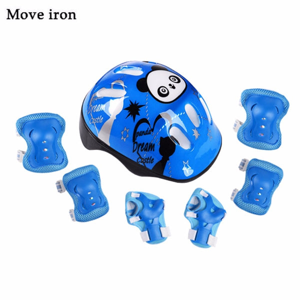 7pcs Panda Kids Bicycle Helmet Elbow Wrist Knee Pads Sport Cyling Bike Helmet for Children Skateboard Mtb Riding casco ciclismo - LADSPAD.COM