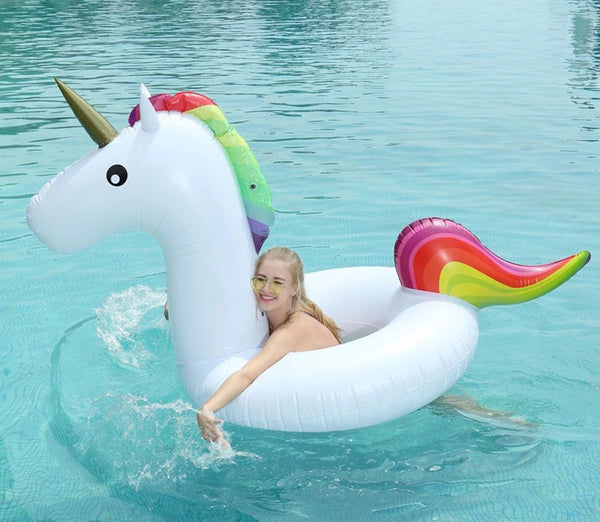 120CM Inflatable Unicorn Swimming Ring Inflatable Circle Ring Bed Buoy Kickboard Summer Inflatable Unicorn Swim Pool Party Fun - LADSPAD.UK