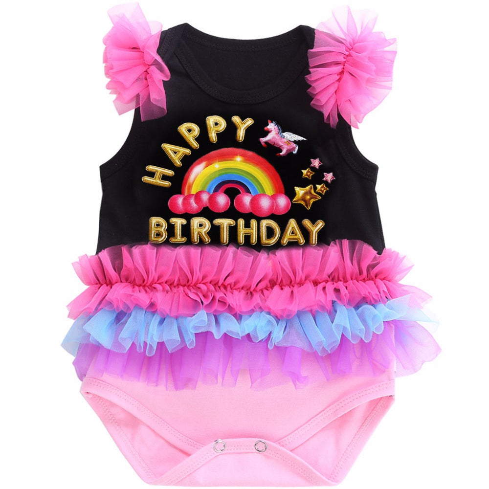 Happy Birthday Party Letter Black Baby Clothes Newborn Baby Romper Lace Short;Sleeveless Infant Clothing Button Baby Costume - LADSPAD.COM