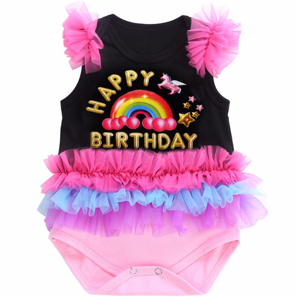 Happy Birthday Party Letter Black Baby Clothes Newborn Baby Romper Lace Short;Sleeveless Infant Clothing Button Baby Costume - LADSPAD.UK