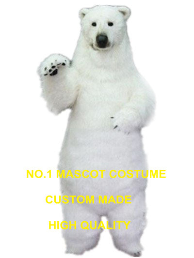 realistic polar bear mascot costume adult size high quality fur white polar bear theme anime cosplay costumes carnival 2969 - LADSPAD.COM