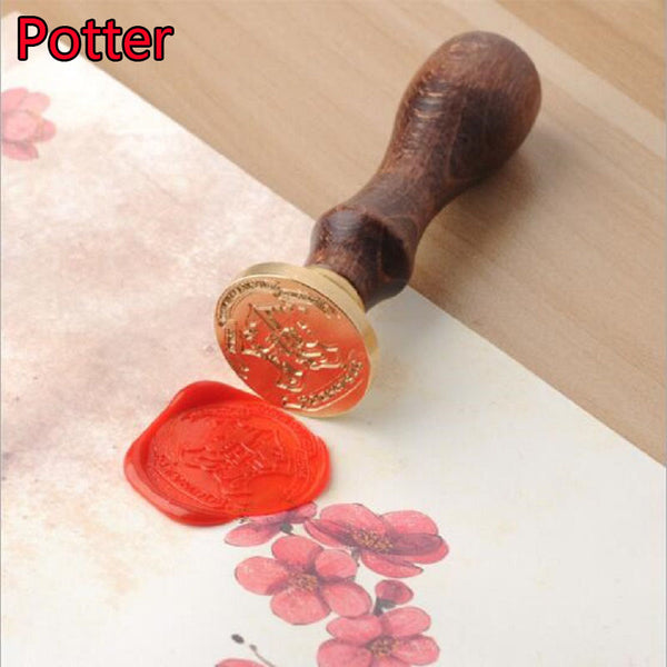 Harri Potter Wooden Fire Seal Anime Figure Toy Harri Potter Magic World Cosplay Stamp Toys Children Birthday Gift