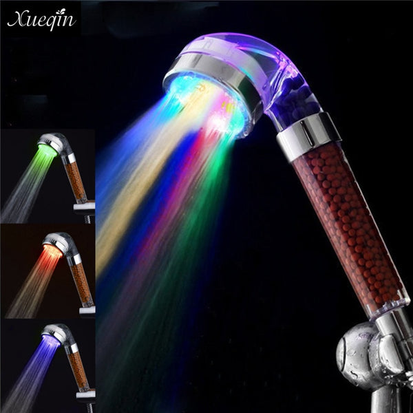 Xueqin Water Saving Colorful LED Light Bath Showerhead Anion SPA Hand Held Bathroom Shower Head Filter Nozzle - LADSPAD.UK