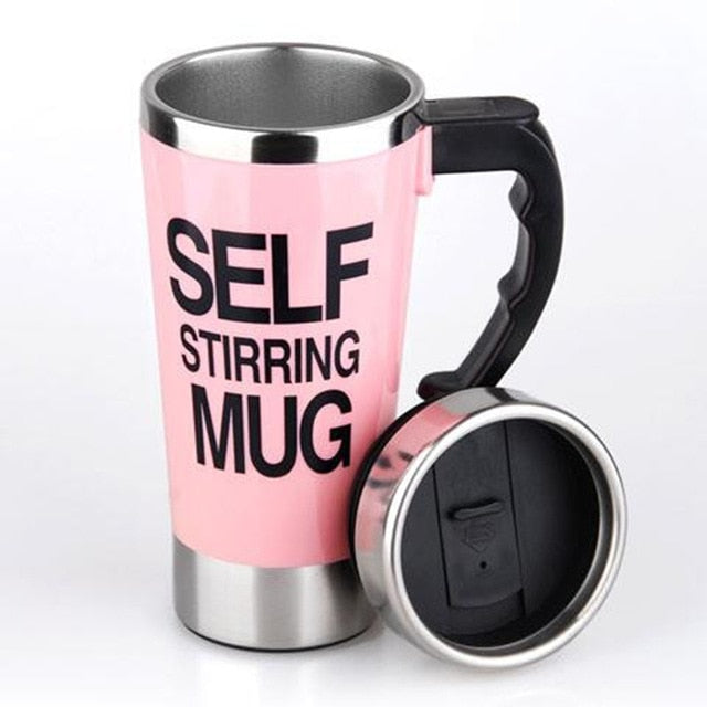 500ml Creative Coffee Mug Stainless Steel Lazy Self Stirring Mug Automatic Electric Automatic Coffee Milk Office Mixing Cup - LADSPAD.COM