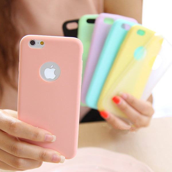 Ultra-thin Solid Color Matte Candy Color Case for iPhone 5 5S 6 6S 7 8 Plus 6Plus 6SPlus 7Plus X Silicon TPU Soft Phone Cases - LADSPAD.COM