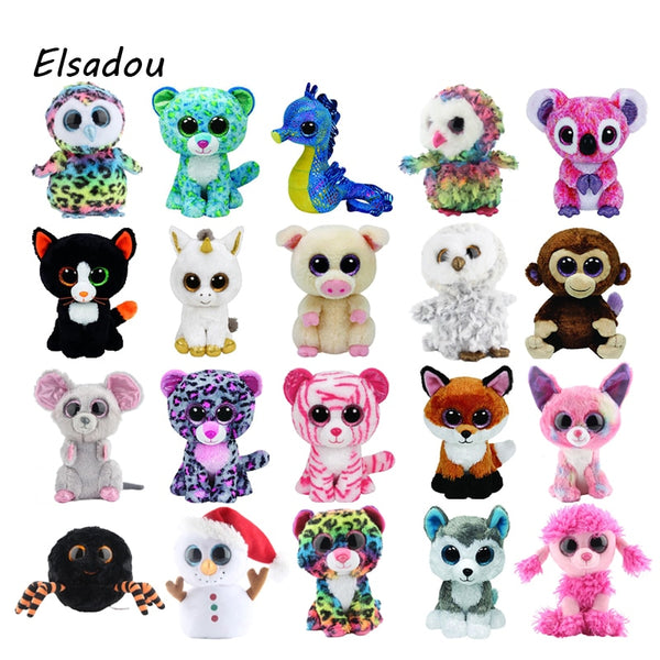 "Ty Beanie Boos Elephant and Monkey Plush Doll Toys for Girl Rabbit Fox Cute Animal Owl Unicorn Cat Ladybug With Tag 6"" 15cm - LADSPAD.COM"