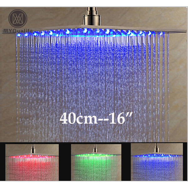 "Luxury Brushed Nickel LED 16"" Rainfall Shower Head Stainless Steel Square Color Changing Lights Showerhead"