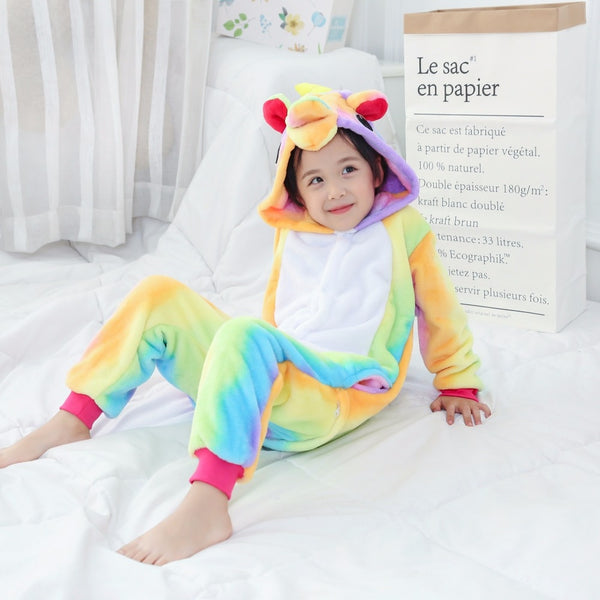 Coloful Unicorn Pajamas for girls Winter pyjama licorne Cartoon Children Sleepwear Coral Fleece Boys pijama de unicornio Inverno - LADSPAD.UK