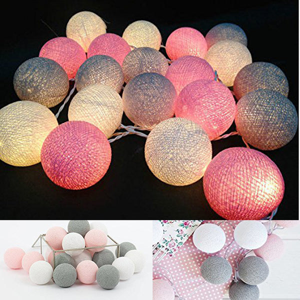 White Gray Pink 4M Battery Powered Led Cotton ball String Light Fairy Light for Indoor Christmas Tree Decorations AC 220V 110V - LADSPAD.COM