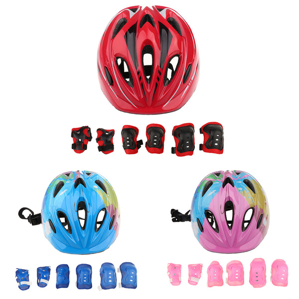7 Pcs Kid Child Roller Skating Bike Helmet Knee Wrist Guard Elbow Pad Set for Bicycle Helmet Protection Safety Guard Cycling Pad - LADSPAD.COM