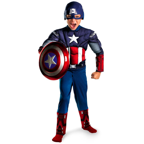 Direct Selling Child Avengers Captain America Muscle Cosplay Fancy Halloween Party Costumes - LADSPAD.UK