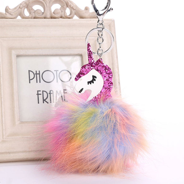 Hot Fashion 1 PC Colorful Fluffy Unicorn Toy Cute Metal Key Chain Plush Toy Pendant Women Fluffy Fur Keyring Bag Hang Plush Toy - LADSPAD.COM