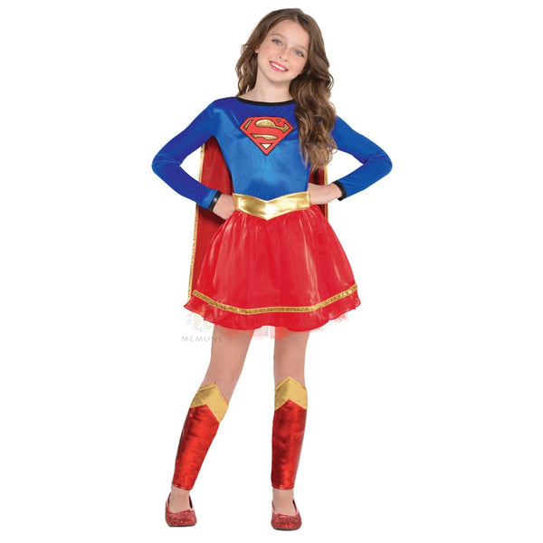 New Arrival Super-cute Look Superman Girls Supergirl Superhero Fancy-Dress Halloween Party Costume