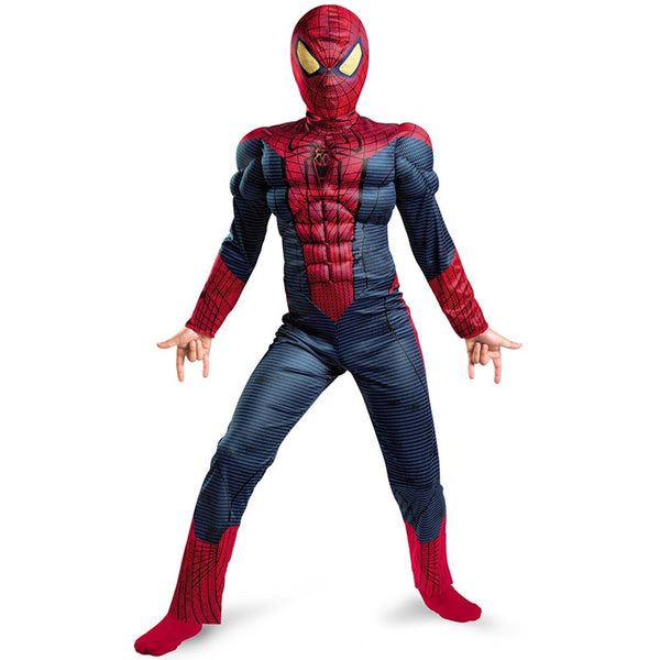 Child Boy Amazing Spiderman Movie Character Classic Muscle Marvel Fantasy Superhero Halloween Carnival Party Costume - LADSPAD.UK