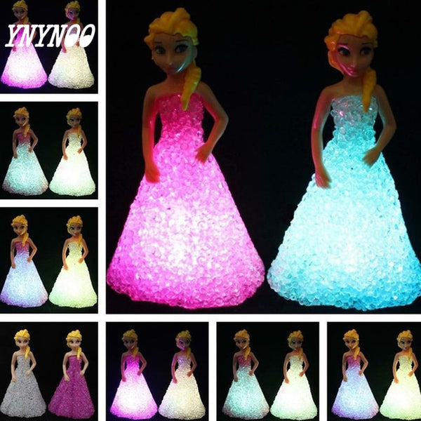 (YNYNOO)Baby Doll Toys For Girls Anna Elsa Toys Doll Ice Snow Queen 7 LED Color Changing Night Light Lamp Gift fw014 Frozeningly - LADSPAD.COM
