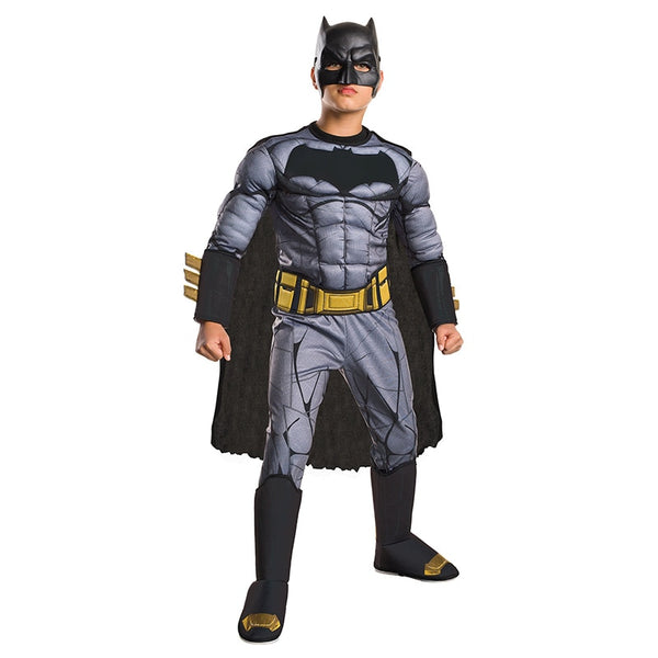 Dawn Of Justice Boys Cool Deluxe Muscle Batman Child DC Movie Cosplay Superhero Halloween Costume - LADSPAD.UK