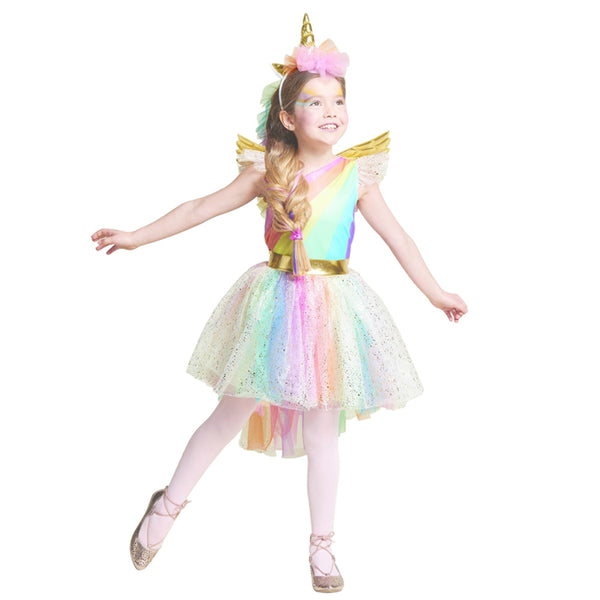 Girls' Dress Rainbow Unicorn Party With Headband Halloween Christmas Cosplay Costume Kids 2018 Summer Dress Party Dress - LADSPAD.COM