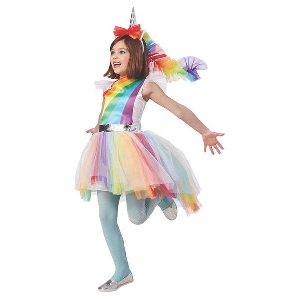 Child Girls Colorful Magical Hues Rainbow Unicorn Fantasy Fancy-Dress Kids Halloween Carnival Party Costume - LADSPAD.UK