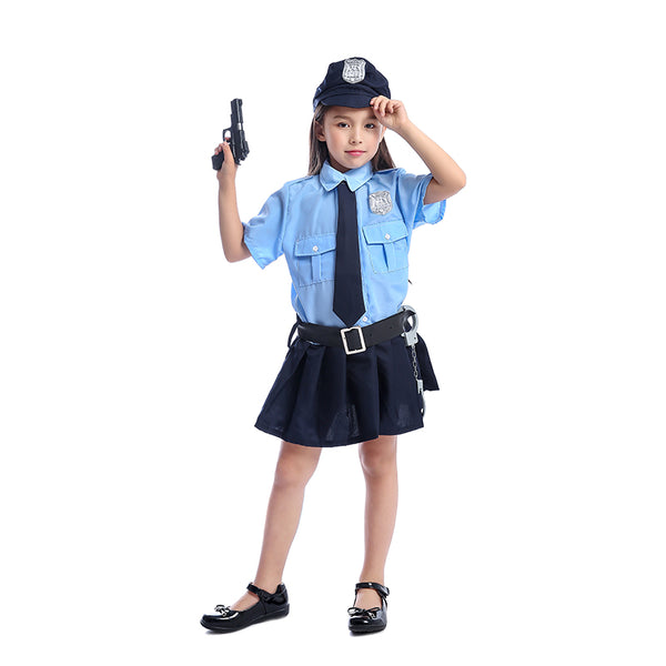 Cute Girls Tiny Cop Police Officer Playtime Cosplay Uniform Kids Coolest Halloween Costume - LADSPAD.UK