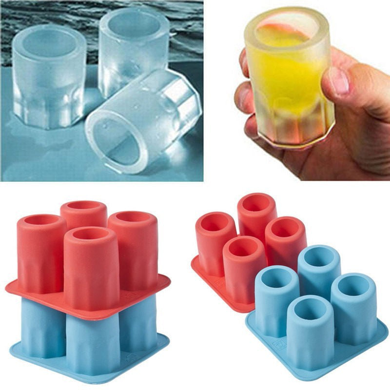 Hot New ONLY Bar Party Drink Ice Tray Cool Shape Ice Cube Freeze Mold Ice Maker Mould You can eat a cup 4-Cup Ice mold cup - LADSPAD.UK