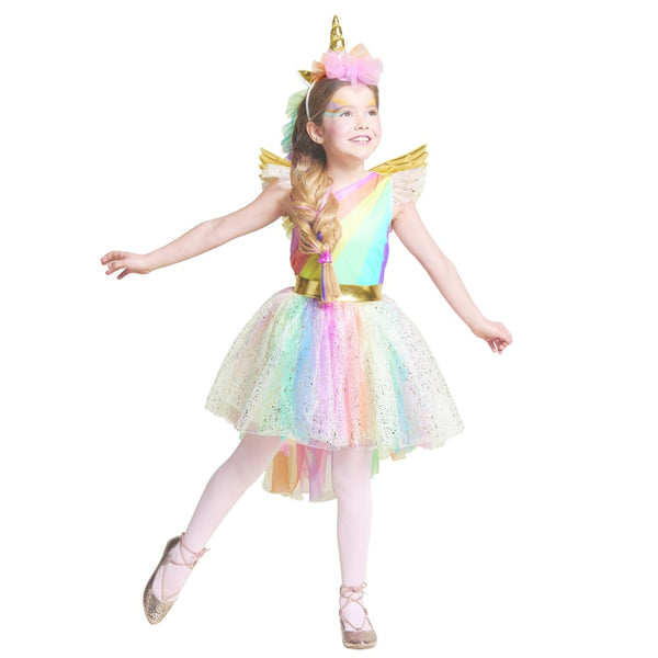 Unique Girls' Deluxe Rainbow Unicorn Costume Great For Halloween And Everyday Dress-Up.