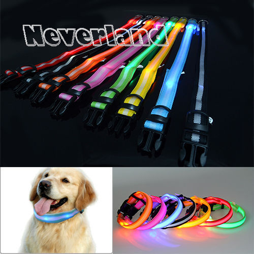 8 Color S M L Size Glow LED Dog Pet Cat Flashing Light Up Nylon Collar Night Safety Collars Supplies Products - LADSPAD.UK