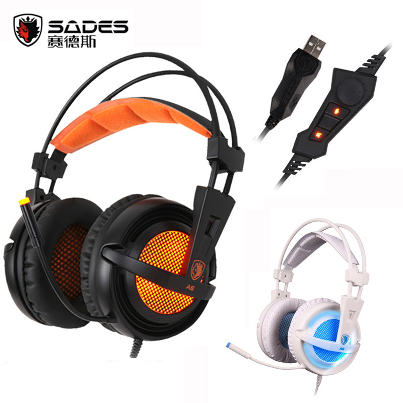 Sades A6 USB 7.1 Surround Sound USB Stereo Gaming Headphones Over Ear Noise Isolating Breathing LED Lights Headset for PC Gamer - LADSPAD.UK