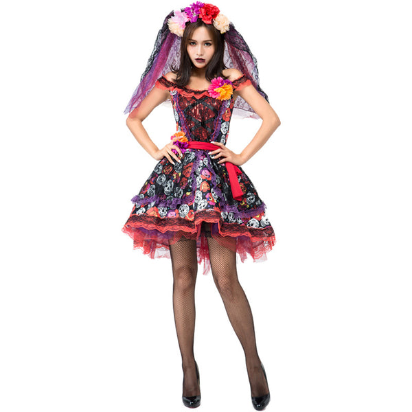 Adult Woman Colorful Lady Of The Dead Scary Day Of Dead Halloween Fancy-Dress Seasonal Costume - LADSPAD.UK
