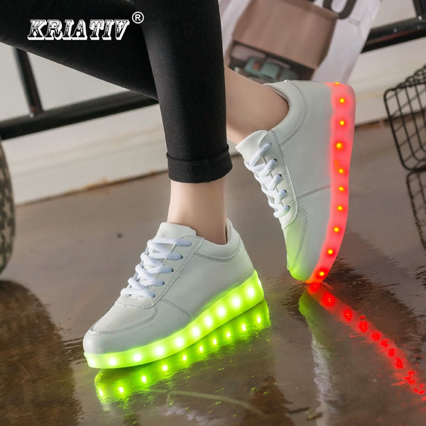 KRIATIV Luminous Led Neon Sneakers Light up Flashing Trainer Flasher glowing sneakers White Luminous Shoe with usb for Boy&Girl - LADSPAD.COM