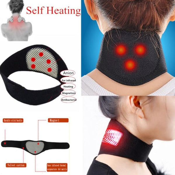 Tourmaline Magnetic Therapy Neck Massager Cervical Vertebra Protection Spontaneous Heating Belt Body Massager Face Skin Care - LADSPAD.COM