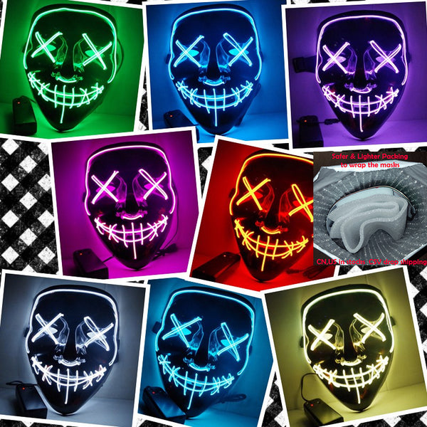 Halloween Mask LED Light Up Party Masks The Purge Election Year Great Funny Masks Festival Cosplay Costume Supplies Glow In Dark - LADSPAD.UK