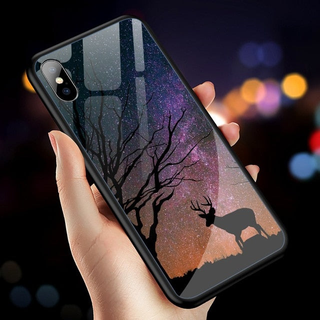 Tempered Glass Case For iPhone 7 Cases For iPhone XS XR Max Silicone Star Cover For iPhone 6 6S 7 Plus 8 8Plus X 10 Funda Coque - LADSPAD.COM