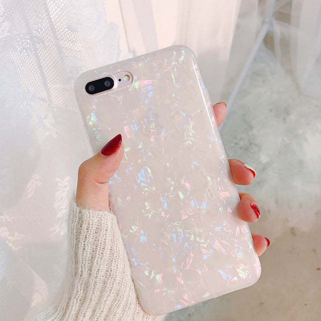 USLION Glitter Phone Case For iPhone 7 8 Plus Dream Shell Pattern Cases For iPhone XR XS Max 7 6 6S Plus Soft TPU Silicone Cover - LADSPAD.COM