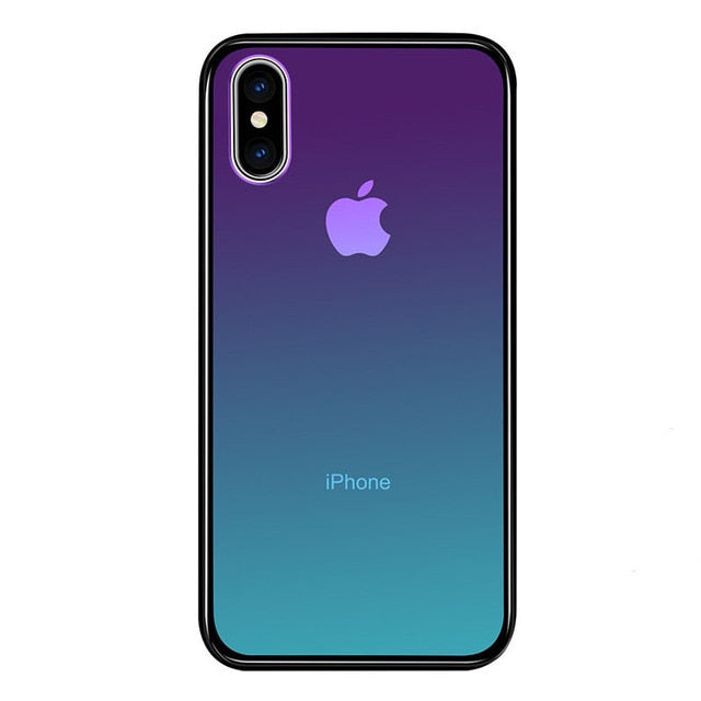 Gradient Color Clear Tempered Glass Blue Ray Aurora Case For Apple iPhone XS Max XS XR X Silicone Frame Slim Glass Protect Cover - LADSPAD.COM