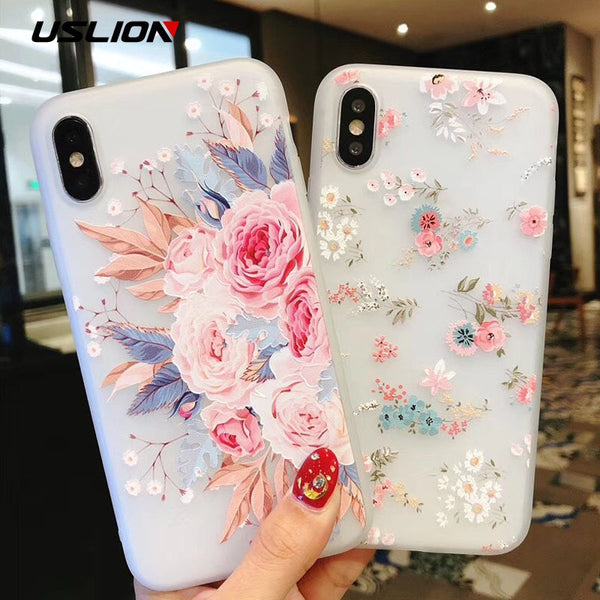 USLION Flower Silicon Phone Case For iPhone 7 8 Plus XS Max XR Rose Floral Cases For iPhone X 8 7 6 6S Plus 5 SE Soft TPU Cover - LADSPAD.COM