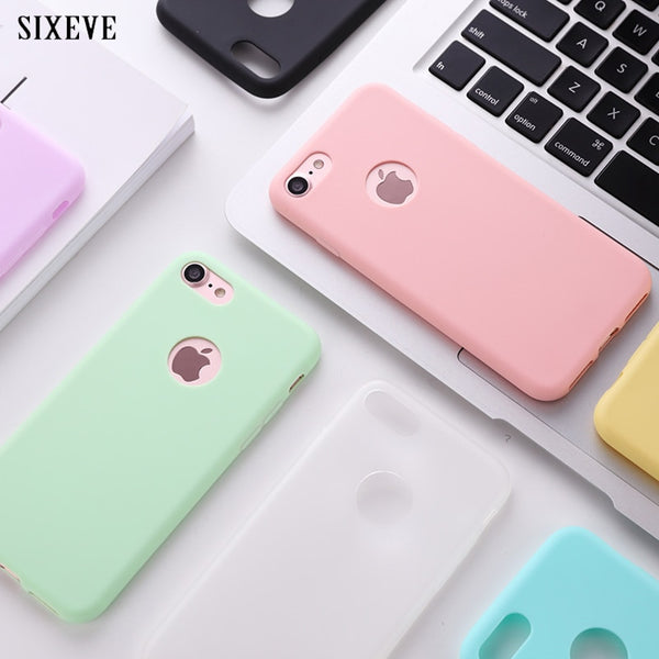 Original Soft Silicone Case for iPhone 6 S 6S 7 8 Plus 5 5S X 10 XR XS Max 6Plus 6SPlus 7Plus Cute Candy Anti-knock rubber Cover - LADSPAD.UK