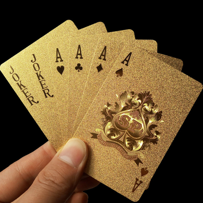 Golden Playing Cards Deck gold foil poker set Magic card 24K Gold Plastic foil poker Durable Waterproof Cards magic81150 - LADSPAD.UK