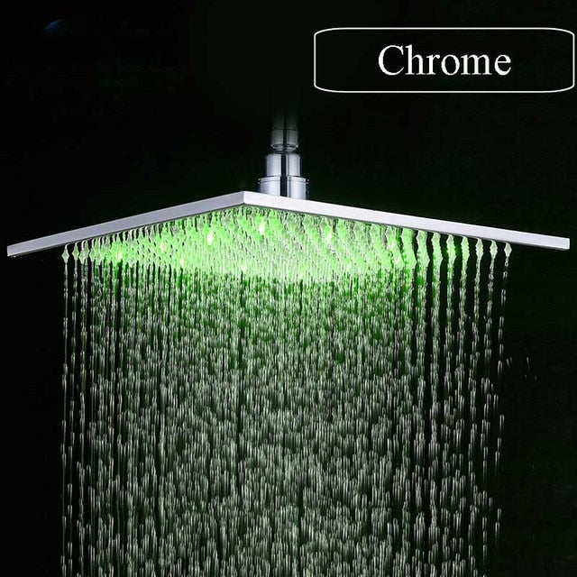 Luxury Brushed Nickel Led 16 Rainfall Shower Head Stainless Steel