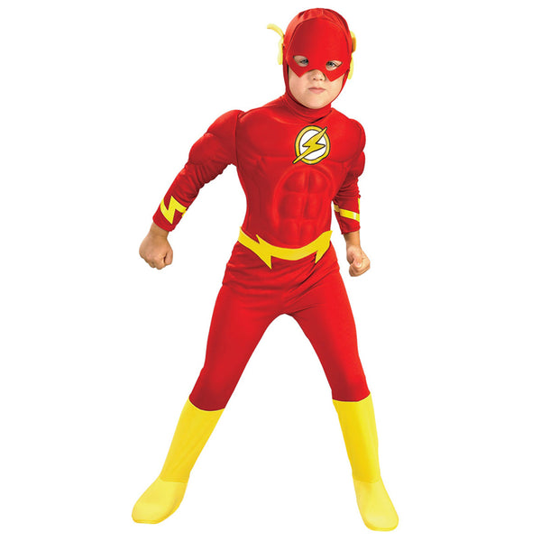 Hot Sale Boy The Flash Muscle Superhero Fancy Dress Kids Fantasy Comics Movie Carnival Party Halloween Cosplay Costumes - LADSPAD.UK