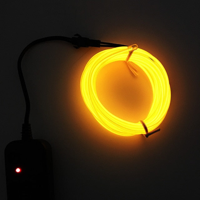Drive 3 meters EL cold light holiday party mask glasses Flexible LED Light EL Wire String Strip Rope Glow Decor USB Controlle