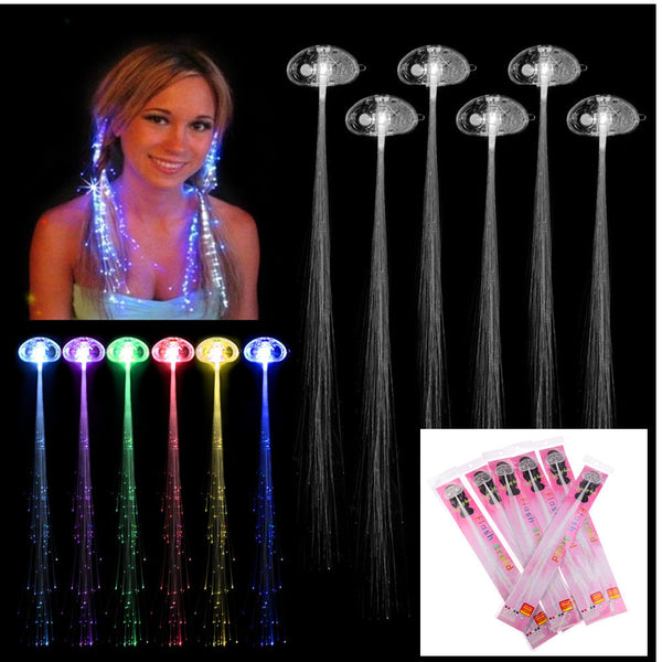 Rave Halloween Decoration 6 Pcs Light-up Fiber Led Hair Color wig Lights Rave for halloween christmas Party led Accessories - LADSPAD.COM