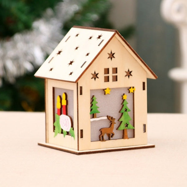 Festival Led Light Wood House Christmas Tree Decorations For Home Hanging Ornaments Holiday Nice Xmas Gift Wedding Navidad 2018