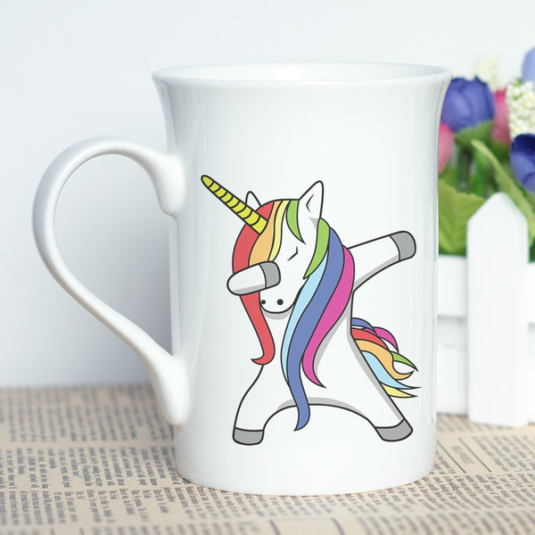 Hot Sale Magic Unicorn Print Cup New Bone China Ceramic Tea Coffee Mug with Cool Cartoon Design Unicorn Printing Holiday Gift