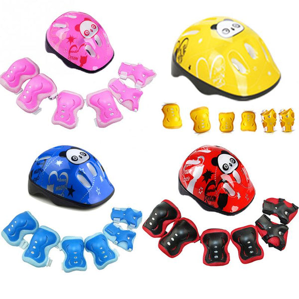 7Pcs/set Kids Skating Cycling Helmet Guard Elbow Knee Wrist Pads Children Bicycle Helmet Protection Safety Guard Cycling Pad - LADSPAD.COM