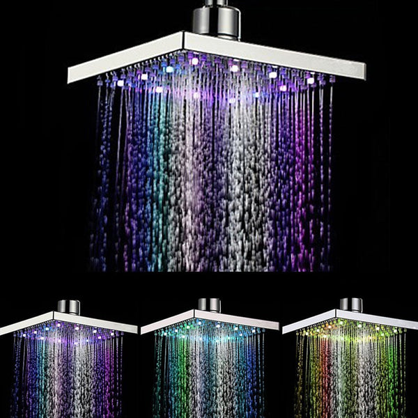 Xueqin Square ABS Temperature Sensitive Rainfall LED Shower Head Water Flow 8 Color Change 150x150x15mm Chrome Finish
