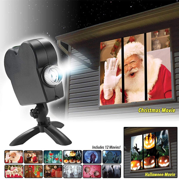 Window Display Laser Lamp  EU plug Christmas Spotlights Projector Wonderland 12 Movies Projector Light