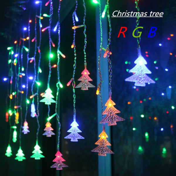 4.5M 96 Leds Curtain Christmas Tree Icicle String Lights Fairy Lights Christmas New Year Lights Wedding Party Decoration EU 220V - LADSPAD.COM