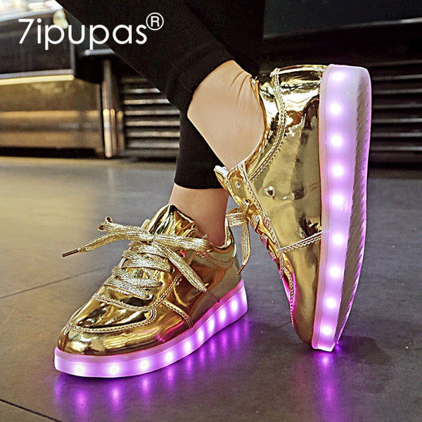 7ipupas New Homme luminous sneakers boys girls Chaussures Lumineuse 11 colors Gold Led Shoes kids Glowing Casual Unisex 30-44 - LADSPAD.COM